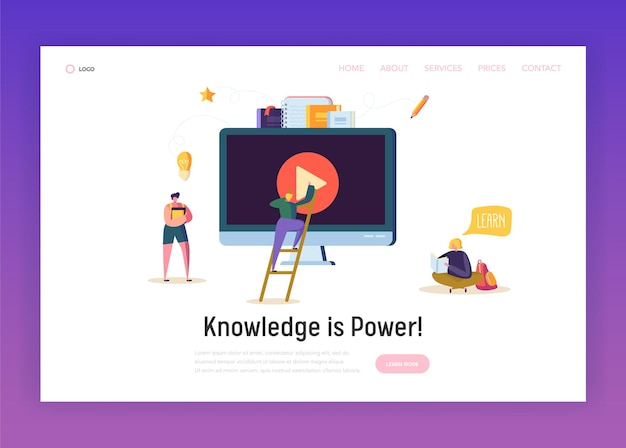 Pagina di destinazione del concetto di streaming video online.