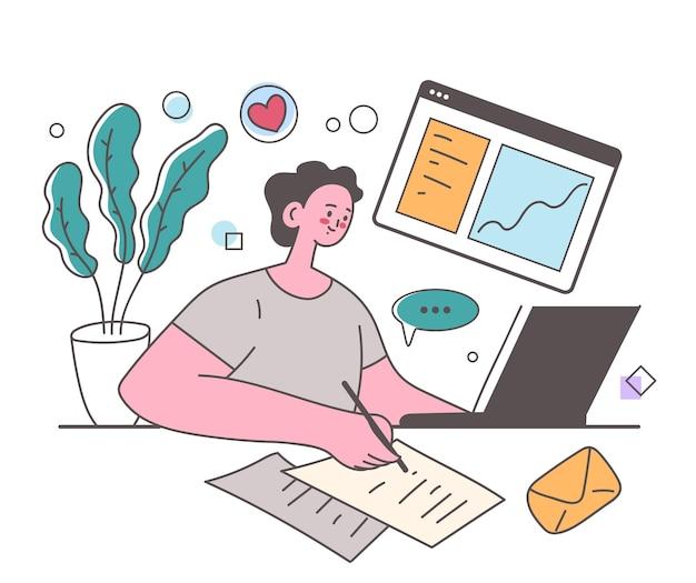 Formazione a distanza online sul web che studia il concetto di elemento di design delle informazioni