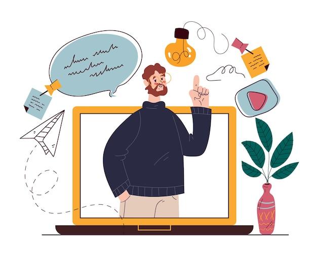 Illustrazione disegnata a mano piana dell'elemento di progettazione di blogging di web di esercitazione di formazione di web online