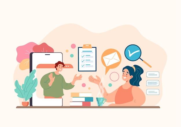 Online web internet colloquio di lavoro reclutamento testa caccia concetto di risorse umane