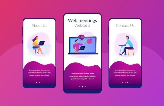 Modello di interfaccia app webinar online.