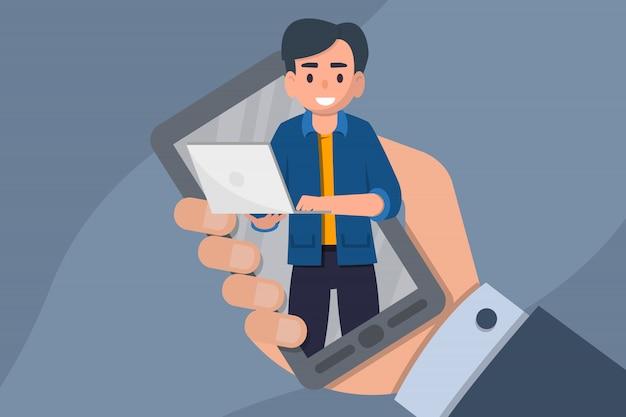 Webinar online. istruzione a distanza, formazione, tutorial, concetto di e-learning. illustrazione vettoriale d'archivio piatto