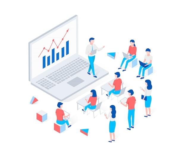 Webinar online, formazione, concetto isometrico di e-learning.