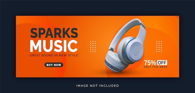Wireless online con bluetooth sparks negozio di musica banner di copertina di facebook modello di post sui social media