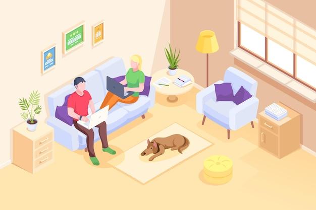 Lavoro online e coppia di liberi professionisti che lavorano con i computer portatili seduti sul divano vettore isometrico