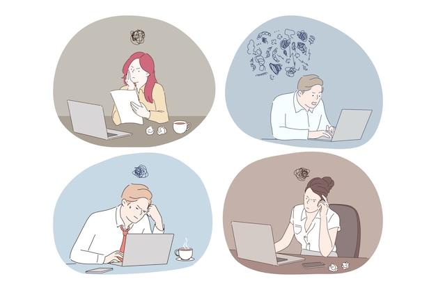 Lavoro online, pensando durante il lavoro con il computer portatile nel concetto di ufficio.
