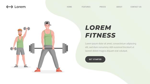Modello di sito web di allenamento online o studio fitness con testo