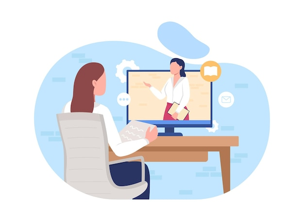 Officina online 2d illustrazione vettoriale isolato. corso a distanza per affari. video in streaming sulla formazione professionale. imparare i personaggi piatti sullo sfondo dei cartoni animati. scena colorata di e-learning