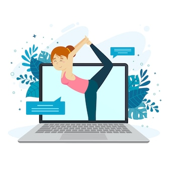 Concetto online della classe di yoga con la donna e il computer portatile