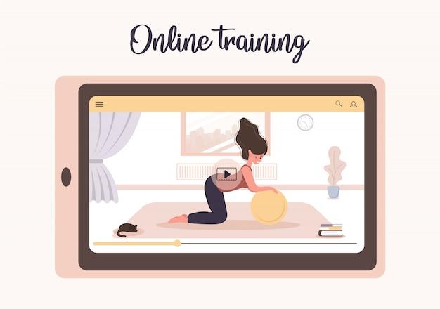 Yoga online e concetto di sport a casa. fare esercizi con un'app mobile. rimanere sani e in forma durante l'epidemia di coronavirus e la quarantena. illustrazione di una donna che insegna yoga via internet.