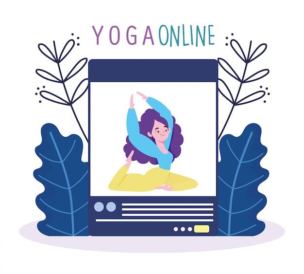 Yoga online, sessione di coaching di formazione per applicazioni web