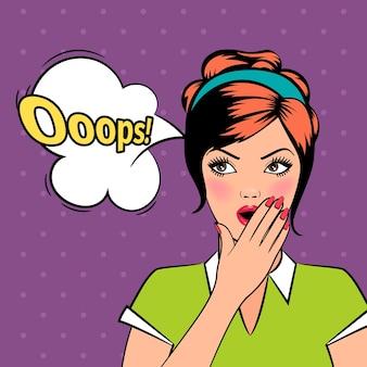 Oops donna fumetto pop art con bolla in stile retrò. illustrazione vettoriale.