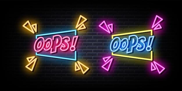 Oops testo al neon simbolo al neon
