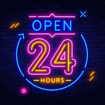 Insegna al neon aperta 24 ore su 24