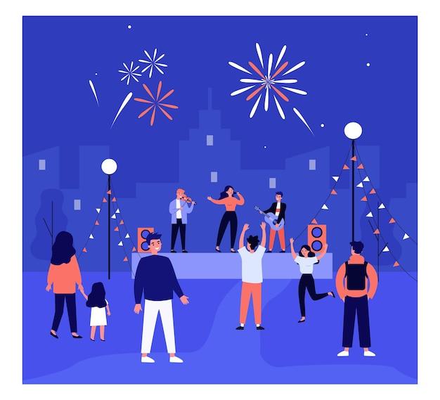 Concerto di musica all'aperto. gente del fumetto che balla alla musica e guarda un concerto dal vivo in città