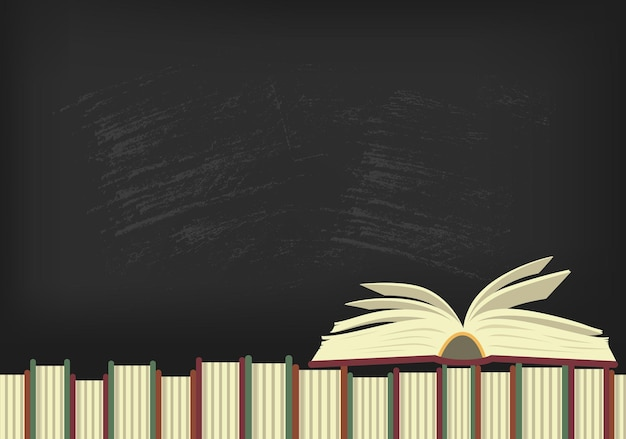Libro aperto sui libri con lavagna sullo sfondo posto per il testo illustrazione di istruzione