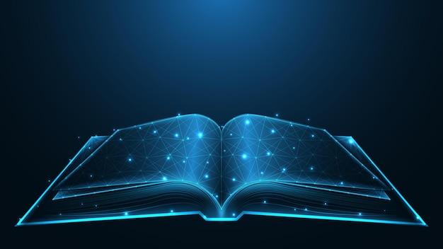 Collegamento della linea del concetto di istruzione del libro aperto. design wireframe basso poli. fondo geometrico astratto. illustrazione vettoriale.