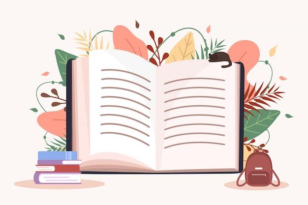 Libro aperto. concetto di educazione e lettura. festival del libro. di nuovo a scuola. illustrazione moderna di vettore in stile piano.