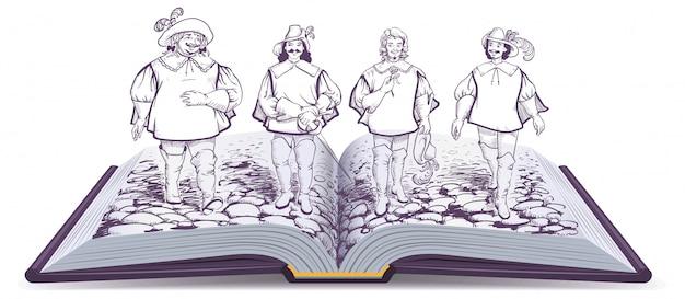 Illustrazione del romanzo storico a libro aperto su tre moschettieri