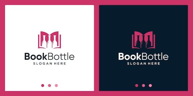 Ispirazione per il design del logo del libro aperto con il logo del design della bottiglia. vettore premium