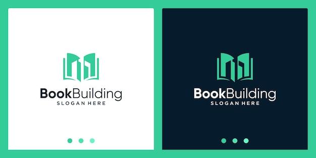 Ispirazione per il design del logo del libro aperto con il logo del design dell'edificio. vettore premium