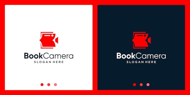 Ispirazione per il design del logo del libro aperto con il logo del design del video della fotocamera. vettore premium