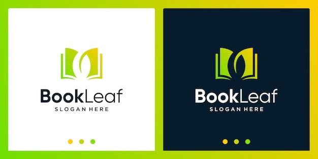 Ispirazione per il design del logo del libro aperto con il logo del design delle foglie. vettore premium