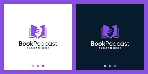 Ispirazione per il design del logo del libro aperto con il logo del design del microfono. vettore premium