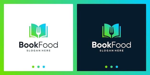 Ispirazione per il design del logo del libro aperto con il logo del design della forchetta del cucchiaio. vettore premium