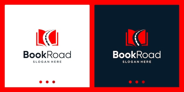 Ispirazione per il design del logo del libro aperto con il logo del design di strada. vettore premium