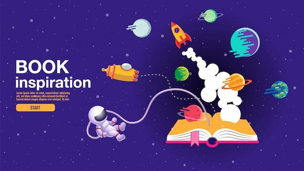 Libro aperto, sfondo dello spazio, scuola, lettura e apprendimento Vettore Premium