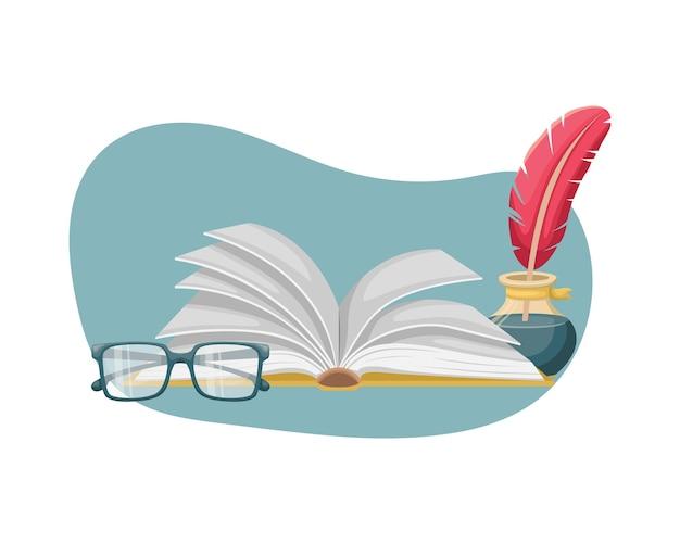 Un libro aperto sul tavolo con un calamaio con penna e bicchieri. educazione, lettura.