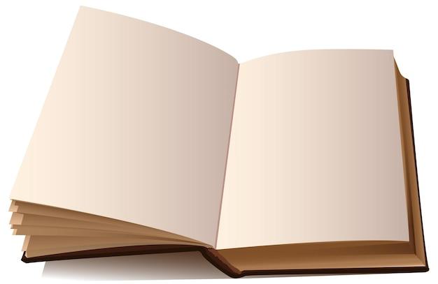 Modello di libro aperto con pagine vuote isolate su bianco.