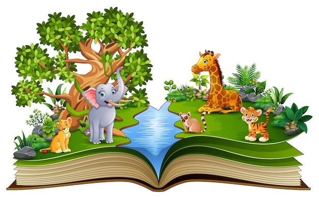Apra il libro con il fumetto animale che gioca nel fiume