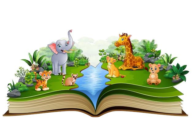 Apra il libro con il fumetto della fattoria degli animali che gioca nel fiume