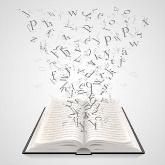 Libro aperto con lettere volanti su sfondo bianco, arte educativa. illustrazione vettoriale