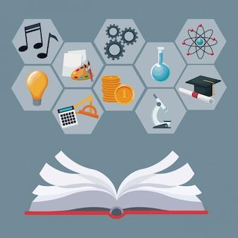 Libro aperto con figure geometriche astratte di colore grigio con conoscenza accademica delle icone