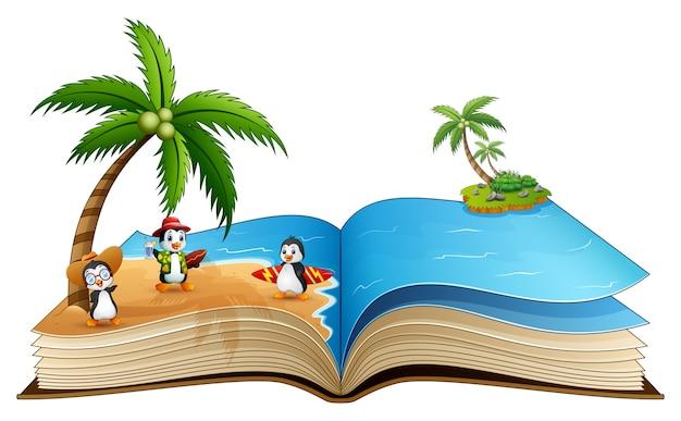 Libro aperto con un gruppo di cartoni animati surf pinguino sulla spiaggia