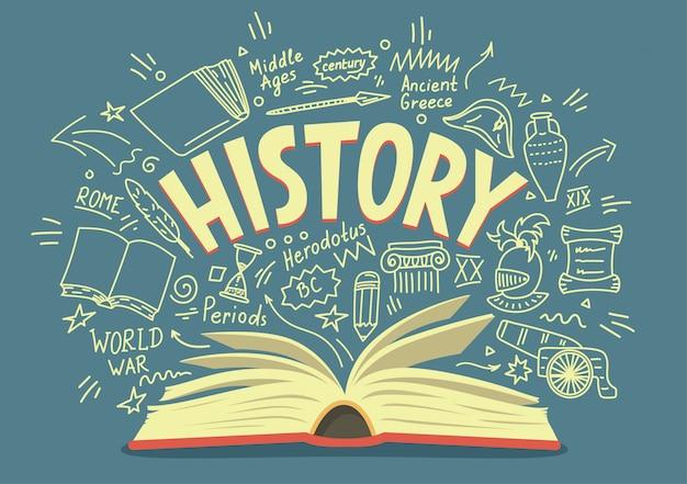 Libro aperto con scarabocchi e scritte di storia. illustrazione di educazione.