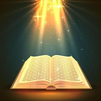 Libro aperto con luce magica, oggetto religioso. illustrazione vettoriale