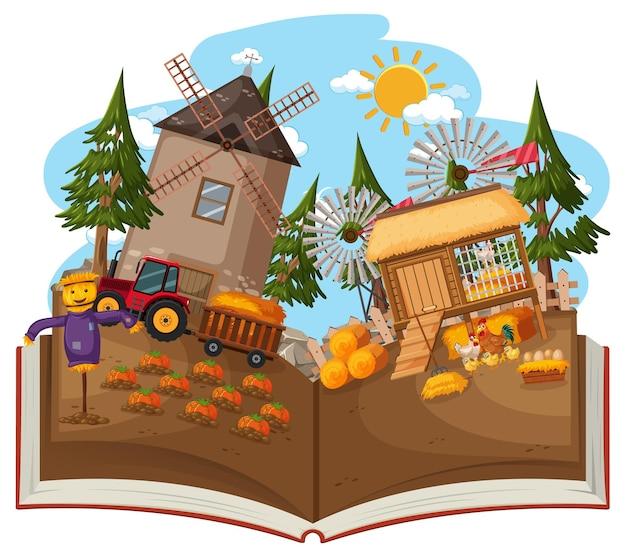 Libro aperto con mulino a vento nella scena della fattoria
