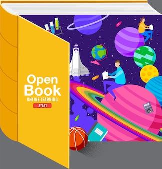 Open bookinspiration studio da casa a scuola design piatto.