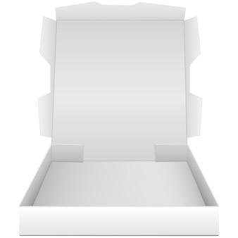 Scatola aperta per pizza isolata su sfondo bianco