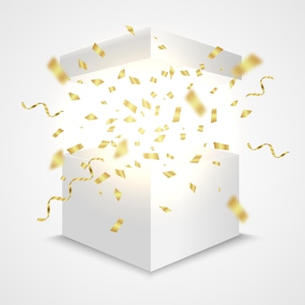 Scatola aperta con coriandoli dorati confezione regalo sorpresa concept