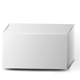 Collezione di scatole aperte. set di scatole di cartone bianche lunghe su sfondo bianco. set di scatole di imballaggio del prodotto vuoto. scatola di cartone realistica, contenitore, confezione.