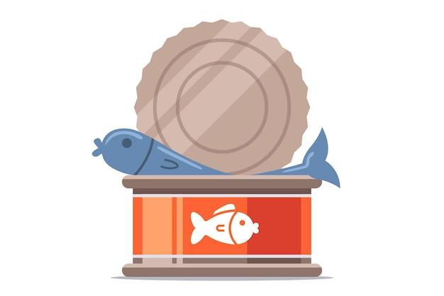 Pesce in scatola aperto. piatto