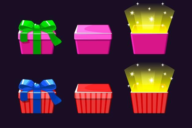 Apri e chiudi confezione regalo colorata. icone di regali rossi e rosa.