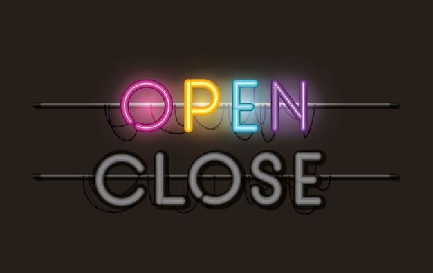 Aprire e chiudere l'etichetta delle luci al neon dei caratteri