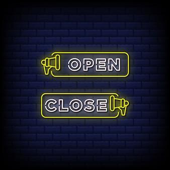Apri e chiudi il testo in stile insegne al neon con l'icona del megafono