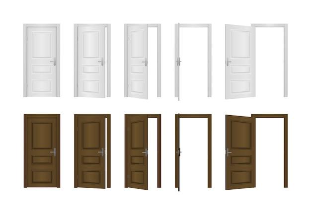 Porta d'ingresso aperta e chiusa della casa isolata su sfondo bianco. porta realistica di ingresso aperto e chiuso. concetto di camera classica. ingresso esterno in legno con luce splendente.